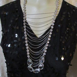 Long Boho Rhinestone Chain Statement Necklace